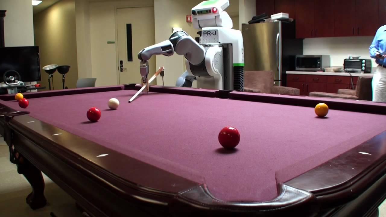 Robot playing pool