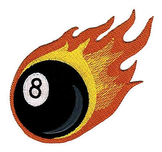 8-Ball Flame Patch
