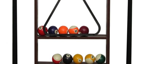 Rack Stand Holding Pool Balls and Triangle Racks