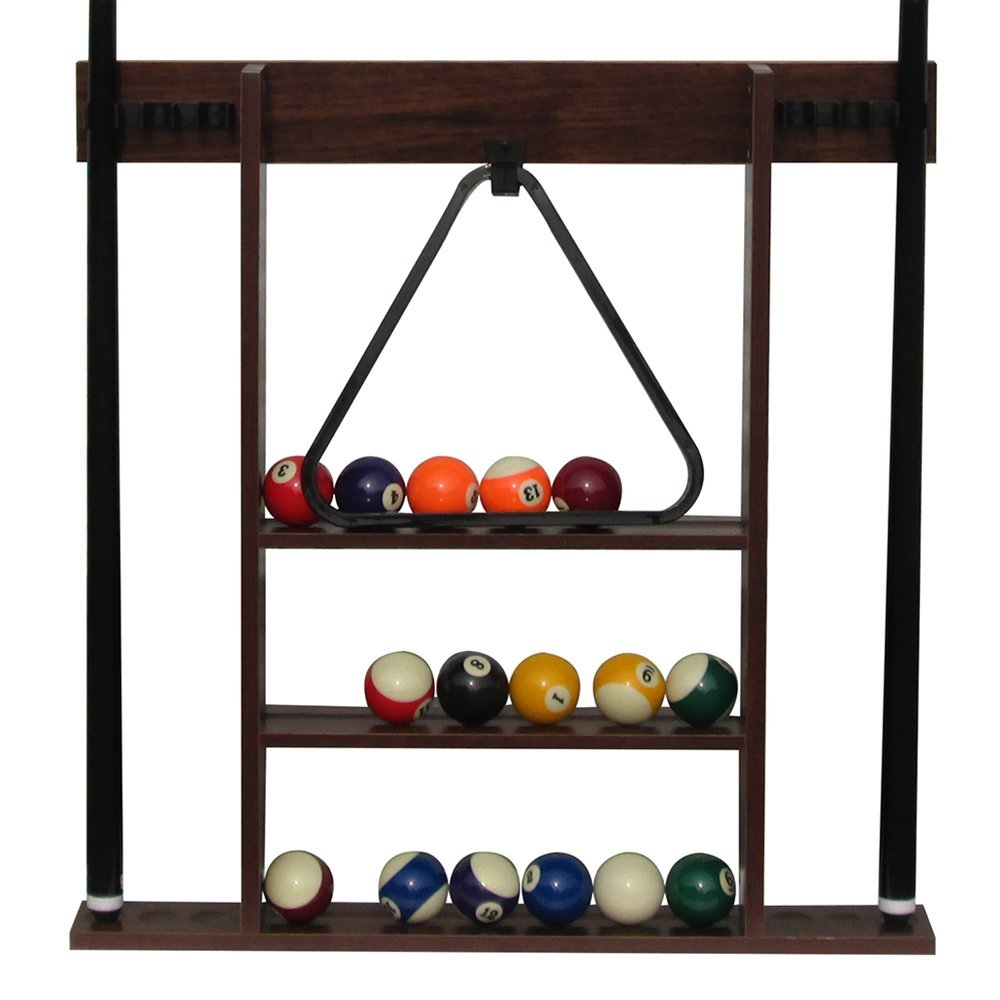Rack Stand Holding Pool Balls and Triangle Racks